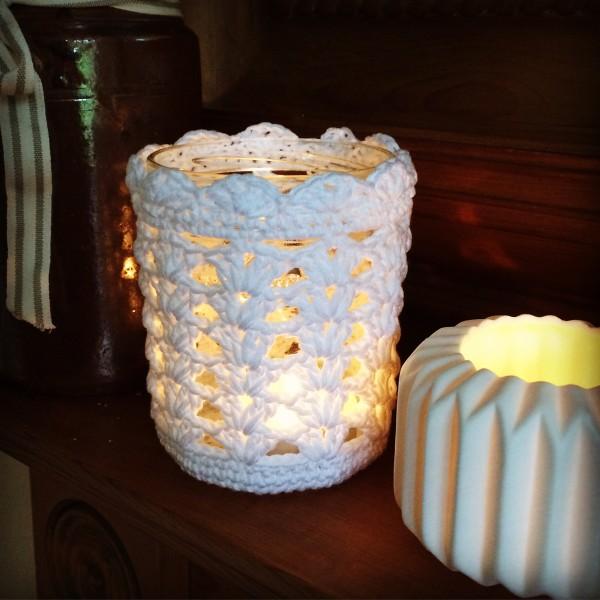 Crochet tea lights.