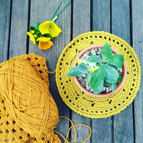This crochet table mat by Emma Varnam will be available as a free pattern on the Debbie Bliss website very soon.